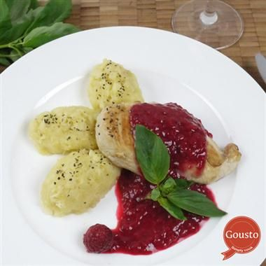 Chicken in raspberry basil sauce with parsnip mash #gousto #delicious