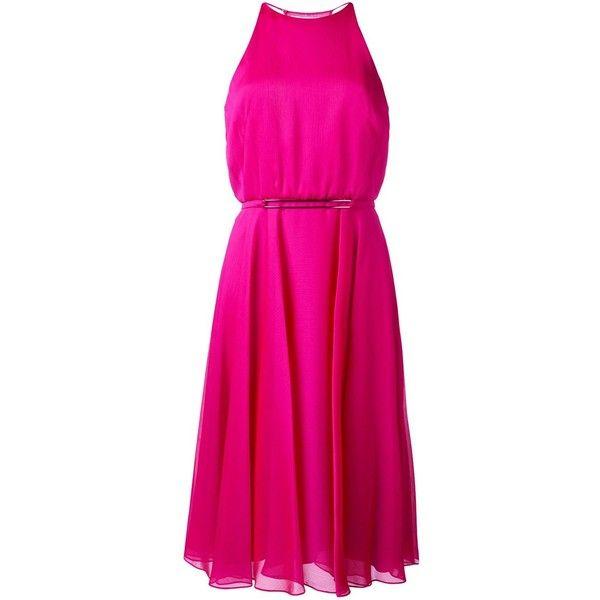 Halston Heritage halterneck dress ($417) ❤ liked on Polyvore featuring dresses, pink, halston heritage dress, halter dress, halston heritage, pink dress and pink halter dress