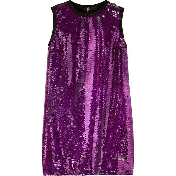 Dolce & Gabbana Sequined mini dress (13.180.115 IDR) ❤ liked on Polyvore featuring dresses, magenta, short dresses, sequin dress, short purple dresses, short petite dresses and petite cocktail dress