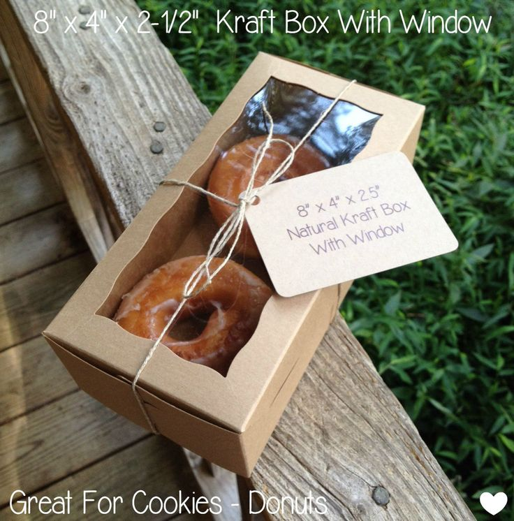 """8"""" x 4"""" x 2-1/2"""" Brown/Brown One Piece Lock & Tab Box With Window • Donut Box  • Cookie Box • Wedding Favors • Food Safe • Made In The US by TheBakersBin on Etsy"""