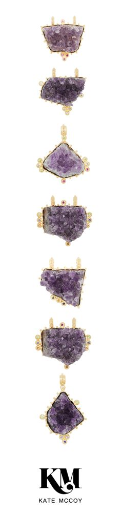 A collection of unique raw amethyst set in sterling silver and finished in 18 karat yellow gold vermeil and surrounded by round brilliant cut precious gemstones.
