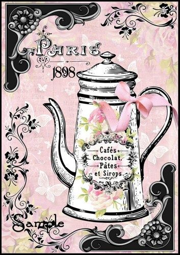 Paris Chocolate Pot Collage French Shabby Chic Transfer Craft Digital