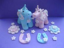 Handmade edible Unicorn wedding cake toppers  horse shoes rosette mini blossom 30.00
