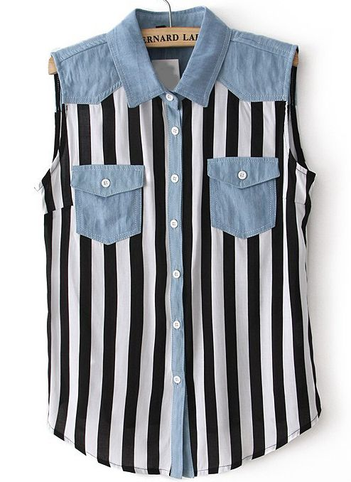 Black White Contrast Denim Vertical Stripe Blouse