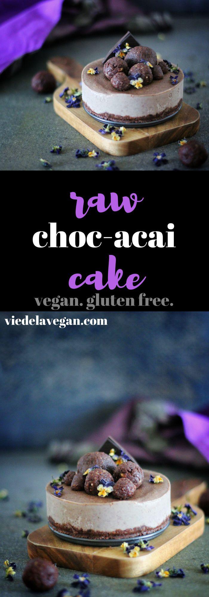 Chocolate Acai Raw Cake   raw vegan, gluten free, refined sugar free   viedelavegan.com