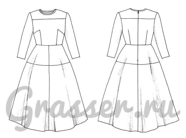 Выкройка №445, платье, магазин выкроек grasser.ru #sewing_pattern