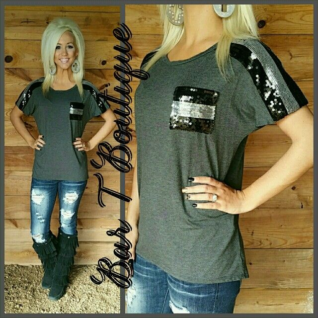 Charcoal Sequin Pocket Top! Follow @bar_t_boutique on instagram to shop