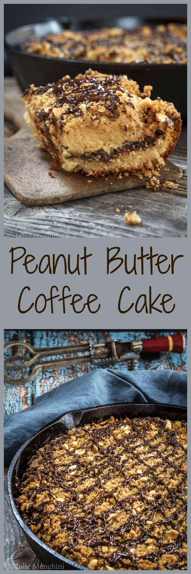 Peanut Butter Coffee Cake is a heavenly mixture of chocolate, peanut butter, and Nutella all under a coating of streusel topping. Nothing is missing from this delicious dessert. | HostessAtHeart.com via @HostessAtHeart