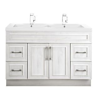 Meadows Cove 48'' Contemporary Vanity Transitional 2 Door 4 Drawer Double Bowl With Top by Cutler