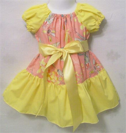 Girls Peach withYellow Wide Ruffle Peasant Dress, Girls Clothing,, Gift for Girls, Made in the USA,   ​This is a very cute dressy dress for your little one. It would make a great back to school dress.   *All easms are professionally finished   *Ends of ribbons are treated   ​*Top stitched where needed aways.   I can make this dress in the following sizes   SIZE------LENGTH   6/12M-------15.5   12/18M------18   24M/2T------19   3T-------------20.5   4T-------------22   5T-------...