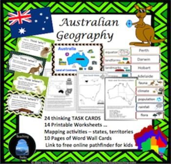 Australia is the land down under! Australia is also a land of great contrasts. Australian Geography is comprised of Thinking Treks - 24 TASK CARDS and a student Trek Tracker to keep track of tasks completed, 14 Australia mapping activities, 80 Australia word cards and 3 printable posters.