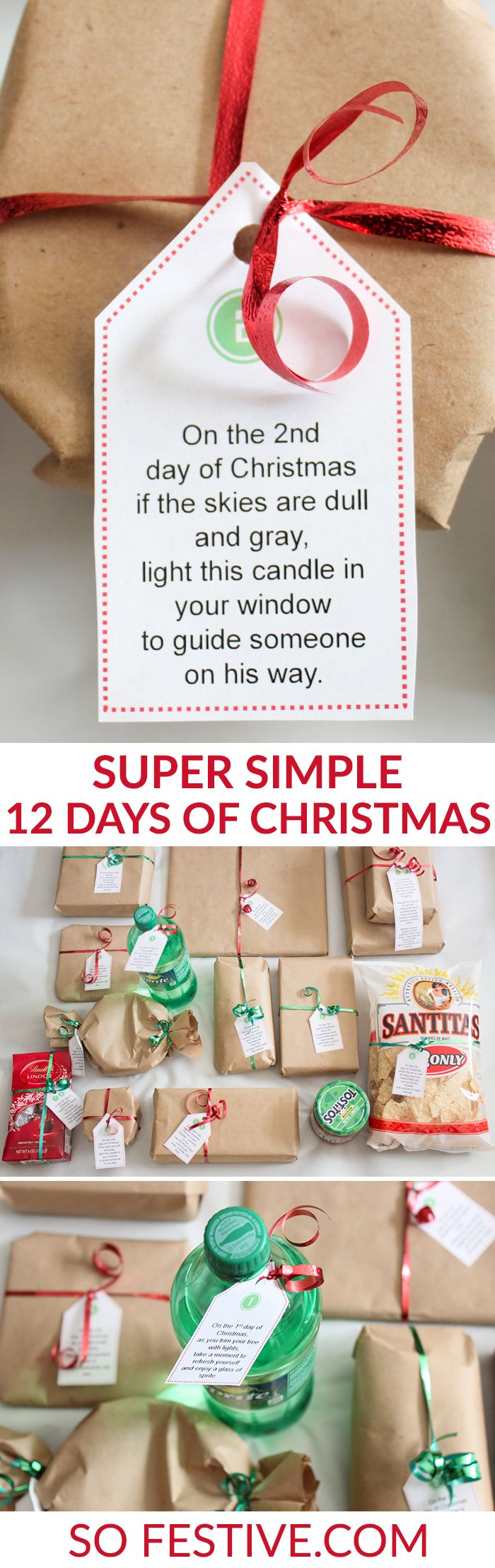 Easy 12 Days of Christmas Idea + printable poem tags. Many of the gifts can be found at the grocery or dollar store! A cute and simple way to spread some holiday cheer!
