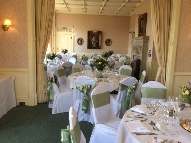 Bespoke Linen Chair Covers And Luxury Sage Satin Sashes At Horsted Place