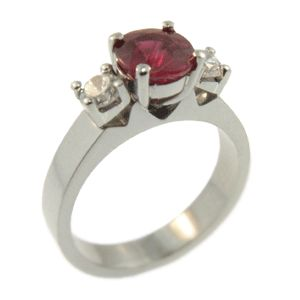 18ct White Gold Ruby and Round Brilliant Diamond ring, handmade at Cameron Jewllery