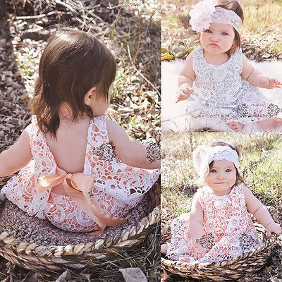 Baby Girls Clothes Summer Sunsuit Infant Outfit Lace Backless Dress Briefs Set