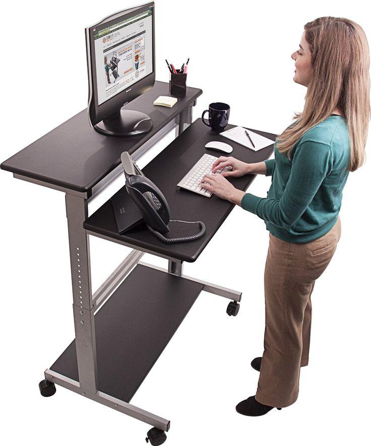 40 Black Shelves Mobile Ergonomic Stand Up Computer Desk Workstation + FREE  Power Strip