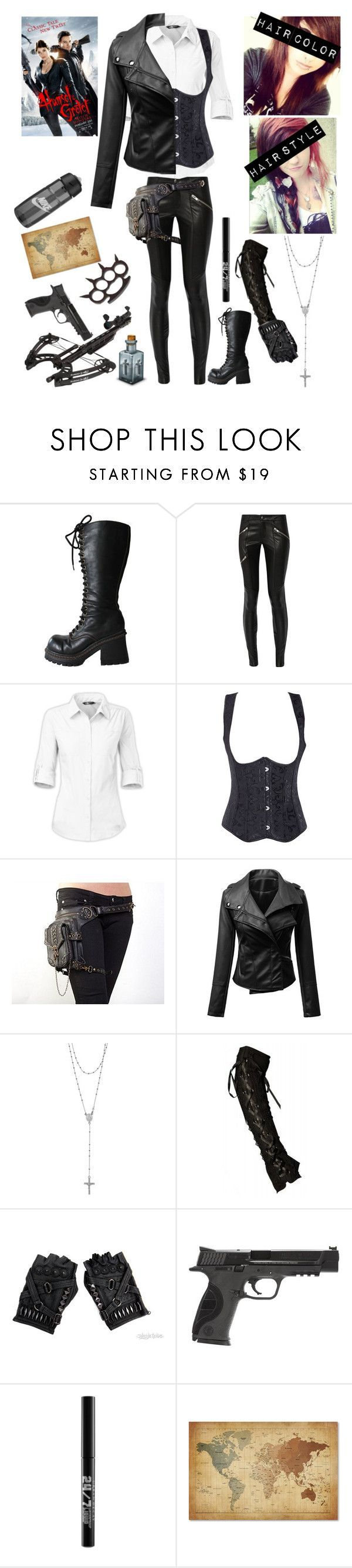 """My 'Hansel and Gretel: Witch Hunters' OC #1 (Hunter)"" by katlanacross ❤ liked on Polyvore featuring Mason by Michelle Mason, The North Face, Tressa, Smith & Wesson, Urban Decay, Trademark Fine Art, NIKE, women's clothing, women's fashion and women"