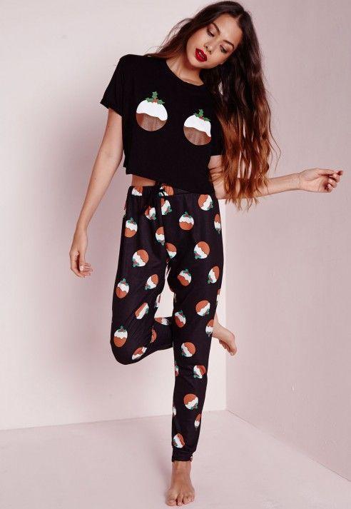 Christmas Pudding Pyjama Set Black - Nightwear - Pyjamas - Missguided