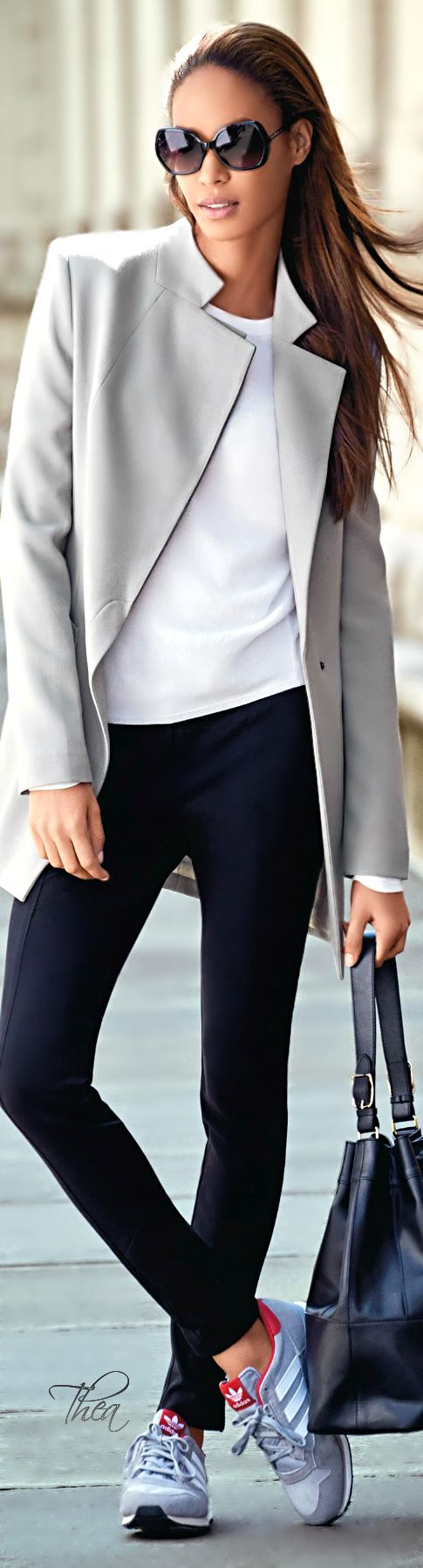 White t, black skinnies, sneakers and a really awesome gray blazer style coat