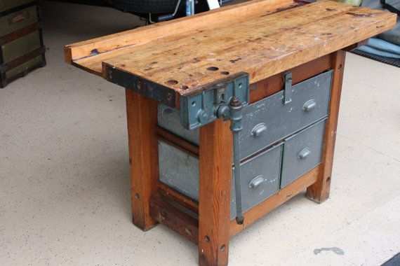Vintage Industrial Wood Work Bench with Vise and Metal Utility Drawers