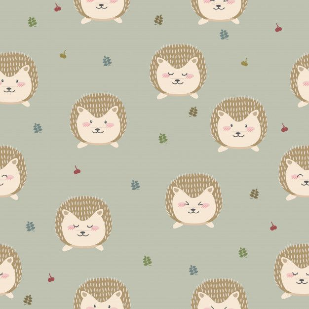 Cute Hedgehog Cartoon Pastel Seamless Pattern Wallpaper Pattern Wallpaper Cute Hedgehog Cartoon Wallpaper