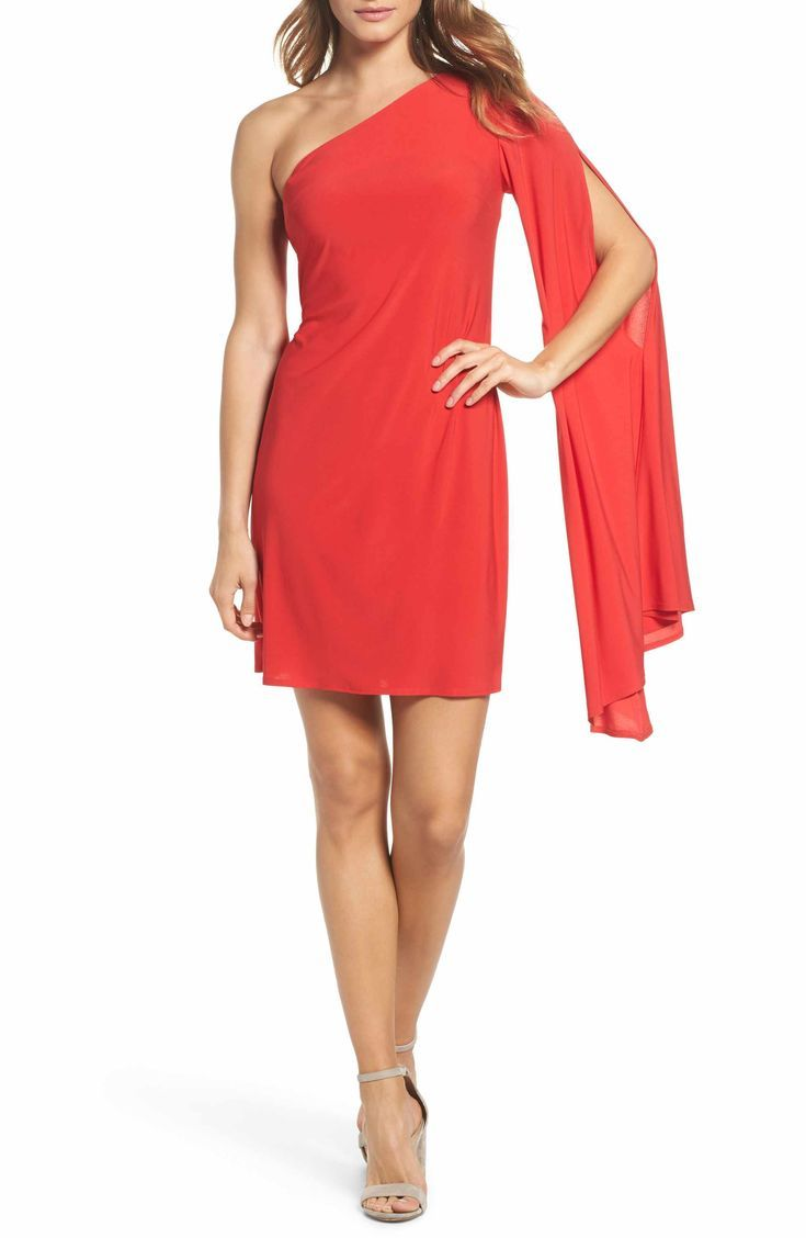 I love the bold red in this Trina Turk Musa One-Shoulder Dress! Dial up the drama in this fiery georgette sheath with a single fluttery sleeve that trails enticingly as you make your way through the party. Spotted @ Nordstrom.com!
