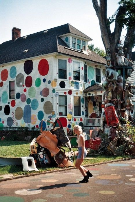 The Heidelberg Project, was started in 1986 by the artist Tyree Guyton as a creative response to the blight and decay he saw in his neighborhood of Detroit. His work, using paint and salvaged objects he found on the street to decorate the houses in his neighborhood, turned the once-threatened area into a tourist destination.