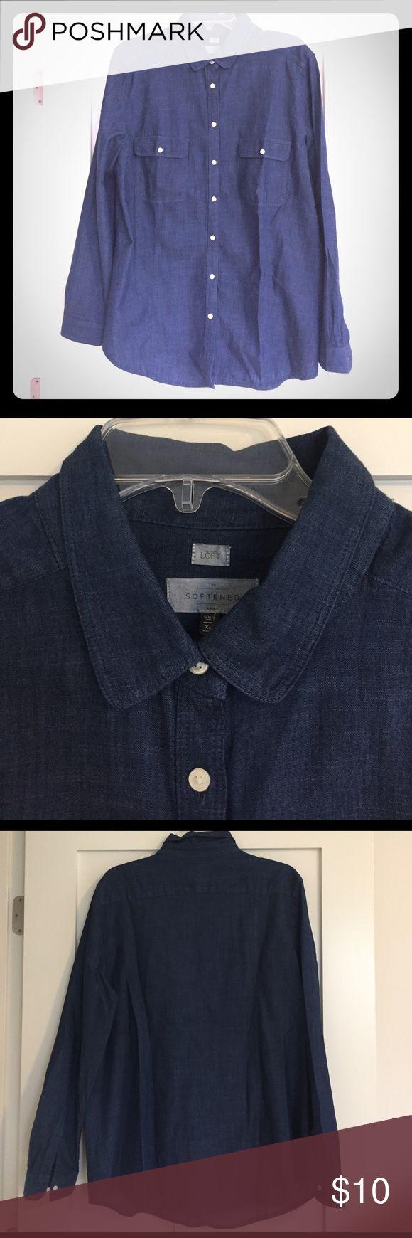 LOFT Softened Denim Button Down Shirt Long-sleeved LOFT button down shirt in softened denim (seriously, so soft!). Two front pockets. LOFT Tops Button Down Shirts