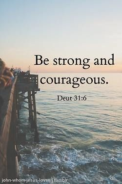 Deuteronomy 31:6. Since I like to write meaningful bible verses on the bottom of my tennis shoes before matches, I think this one will be a good one to do. (Anyone else have ideas?)