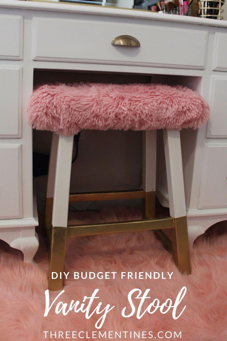 DIY Vanity Stool, Vintage Vanity Makeover, #vanity #diy, #organization #budget #ikealackshelf #bedroom, #vintage #mirror #makeover #lighting #decor #chair #stool #furstool #pink #gold #white #golddipped #floating #storage #redo