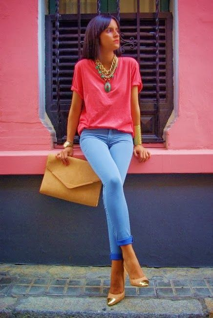 see more Adorable Combination of Red T-Shirt and Blue Jeans