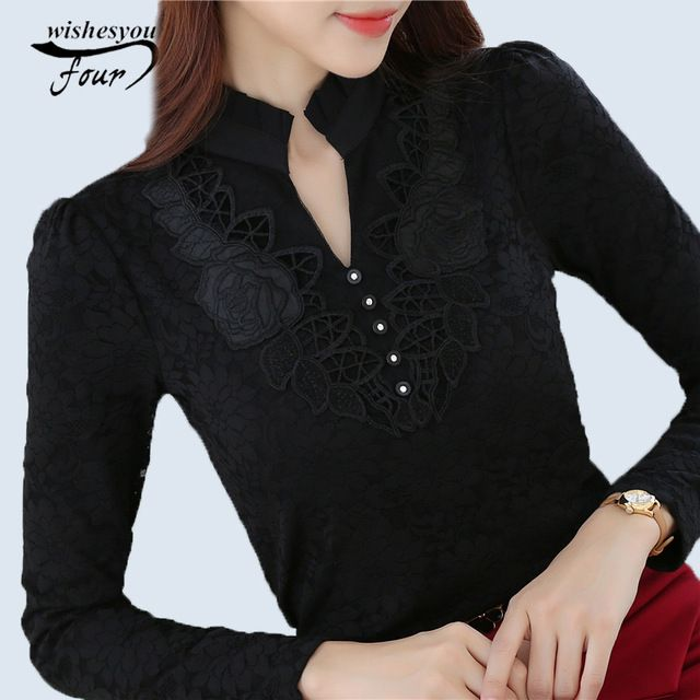 Buy now 2017 Spring Autumn Fashion New brand Ladies Lace blouse Elegant Women shirt Female Lace Tops Women clothing Plus size 3XL 802F just only $10.03 - 11.07 with free shipping worldwide  #womanblousesshirts Plese click on picture to see our special price for you