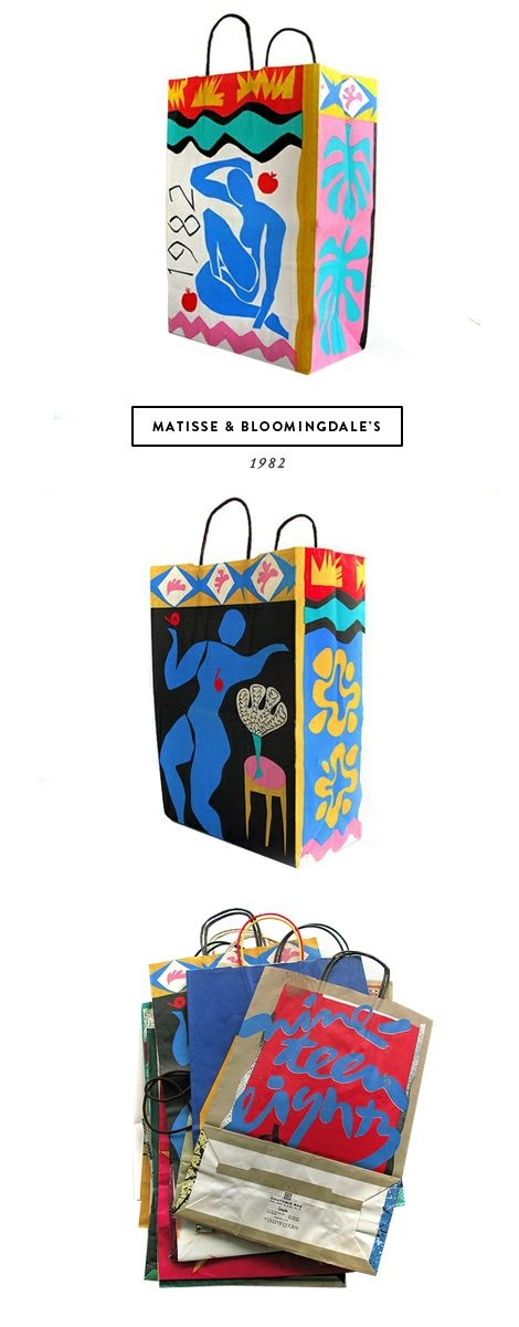 beyond jealz of this woman's estate sale find: 1981 Matisse Bloomies shopping bags