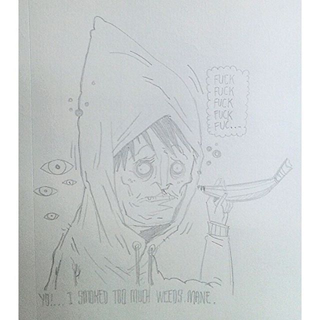 """""""Yo!  I smoked too much weeds mane."""" #kenny_poppins #dailydoodle #pencil #drawing #sketchbook #weed #paranoia #art"""