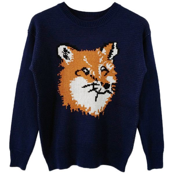 Navy Blue Womens Fox Patterned Long Sleeves Crew Neck Pullover Sweater  (£24) ❤ 3a31418116