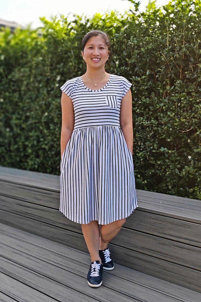 5a8bfbf0c5a8 Pearlie Dress Everyday Tee Shirt Dress & Peplum Top for Women PDF Sewi –  Peach Patterns