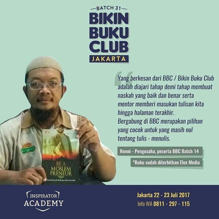 Jakarta dan Sekitarnya!  Siapapun Anda Anda Bisa Jadi Penulis!  Bersama program Bikin Buku Club (BBC) ratusan alumni telah kami bantu menyelesaikan naskahnya dan sudah terbit diantaranya BEST SELLER!  Kini giliran Anda di JAKARTA dan sekitarnya!  Ini alasan mengapa Anda harus bergabung dengan Bikin Buku Club dari @inspiratoracd yang akan membantu menerbitkan Buku Anda.  Apa saja yang akan Anda dapatkan ?  1. Workshop selama 2 hari 1 malam di Hotel Berbintang bersama mentor @briliagung…