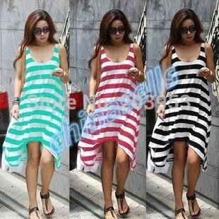 summer woman stripe beach dress holiday dress beach skirt lady dress swim bikini blouse DIY skirt