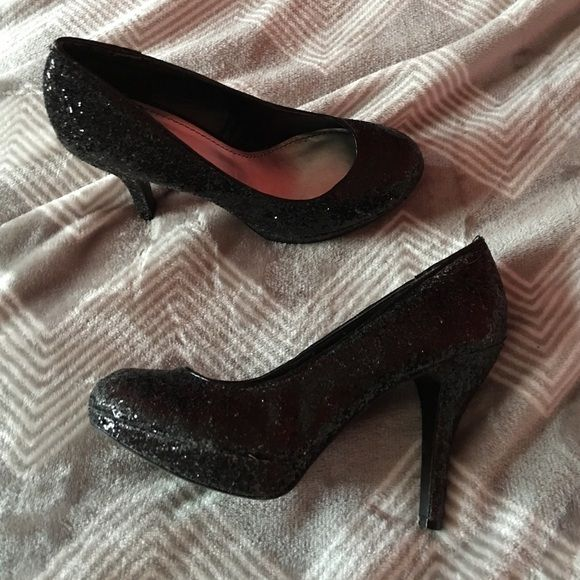 high heels black, sparkly 4 inch heels, only worn once Shoes Heels