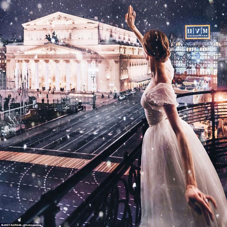 Depicting the capital like something straight out of a fairytale, Russian photographer Kristina Makeeva has taken a series of spell-binding, snow-streaked images across the city. Above, a ballerina salutes the Bolshoi Theatre of Russia