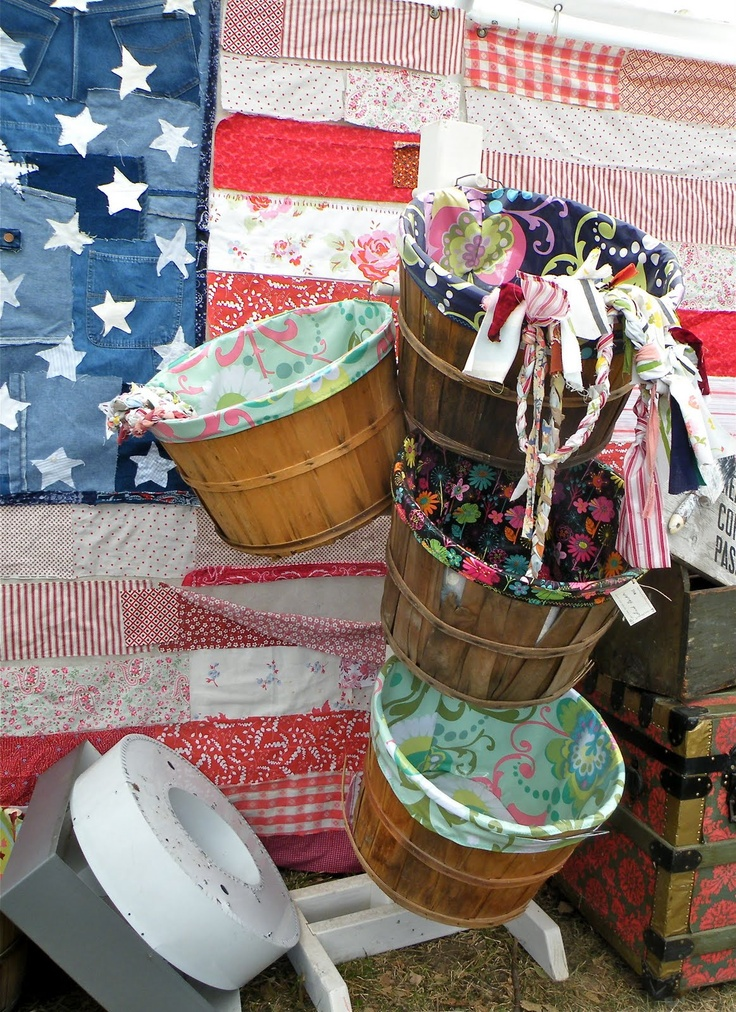 tutorials for bushel baskets liner, but love the quilted american flag in pict!