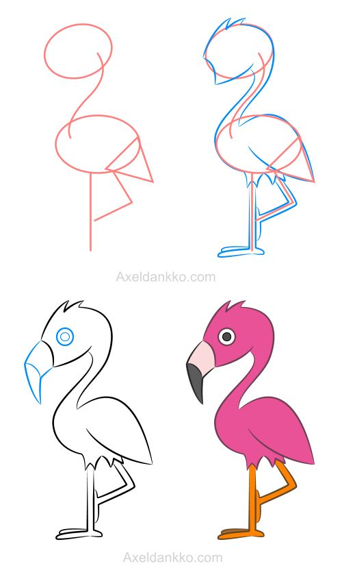 How to draw a flamingo - Comment dessiner un flamant rose