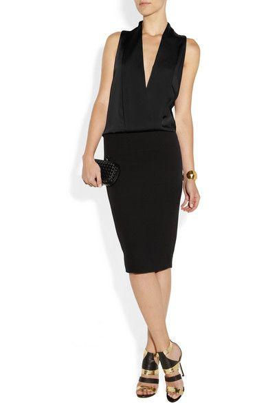 Victoria Beckham Matte-satin and crepe tuxedo-style dress $2,750 #MillionDollarShoppersLiz