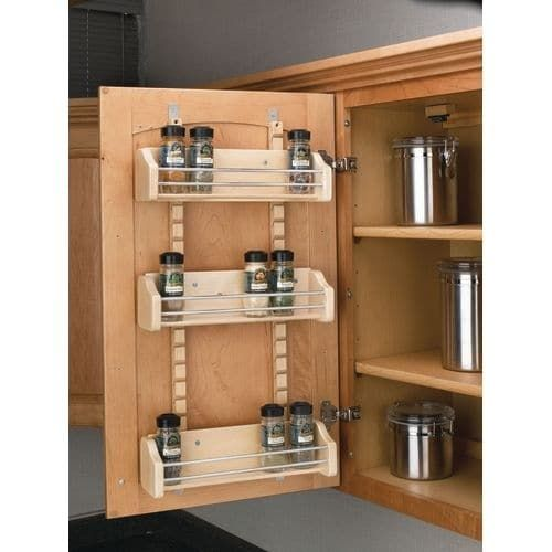 Rev-A-Shelf 4ASR-18 4ASR Series Adjustable Door Mount Spice Rack with 3 Shelves for 18 Wall Cabinet, Brown maple (Wood)