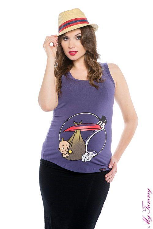 Koszulka ciążowa na ramiączka Bocian fiolet