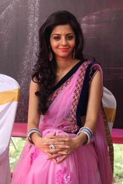 Actress Vedhika in a gorgeous pink saree with velvet blouse