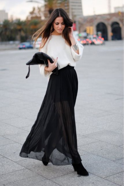 Long skirts fashion. Too transparent though...