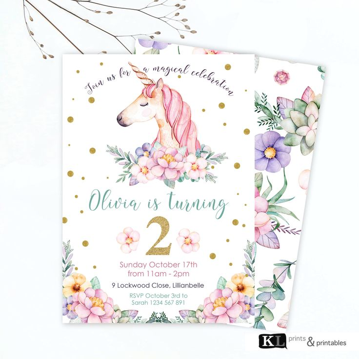Unicorn Birthday Invitation,  floral unicorn invite,  Personalized Invitation, Digital Invitation, girls unicorn party, birthday invite by KLprintsandprintable on Etsy