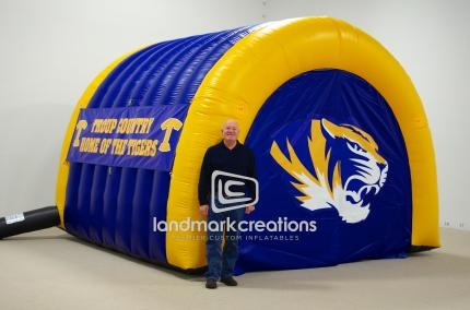 Traditional sports tunnels, like this one designed for the Troup County Tigers, include a choice of colors, name banners and the school emblem printed on the front break away doors.