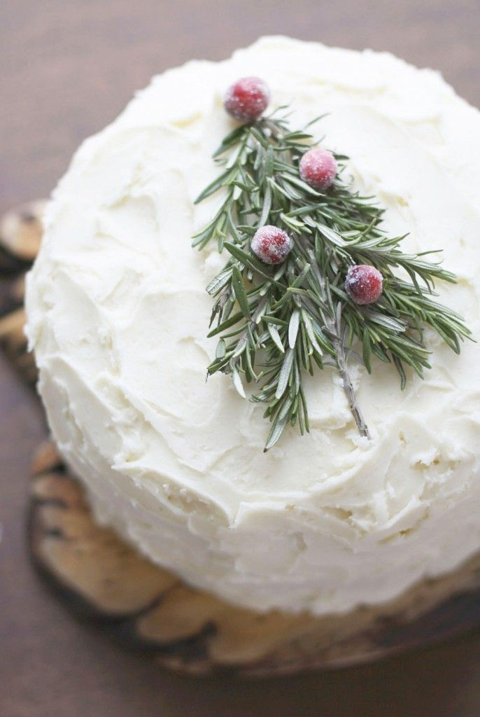 Christmas Cake w/ Rosemary Tree & Sugared Cranberries